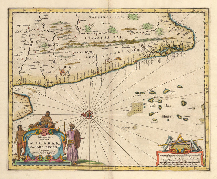 Antique Map of the Western Coast of India 1672