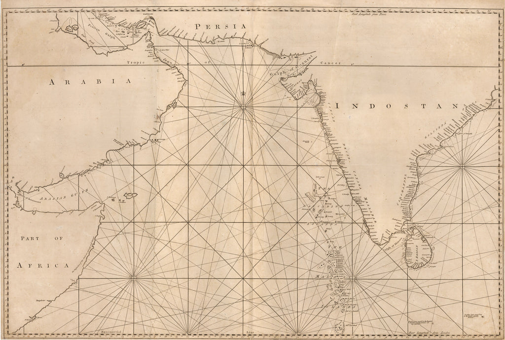 Rare untitled Sea Chart of the Indian Ocean By: William Herbert 1774