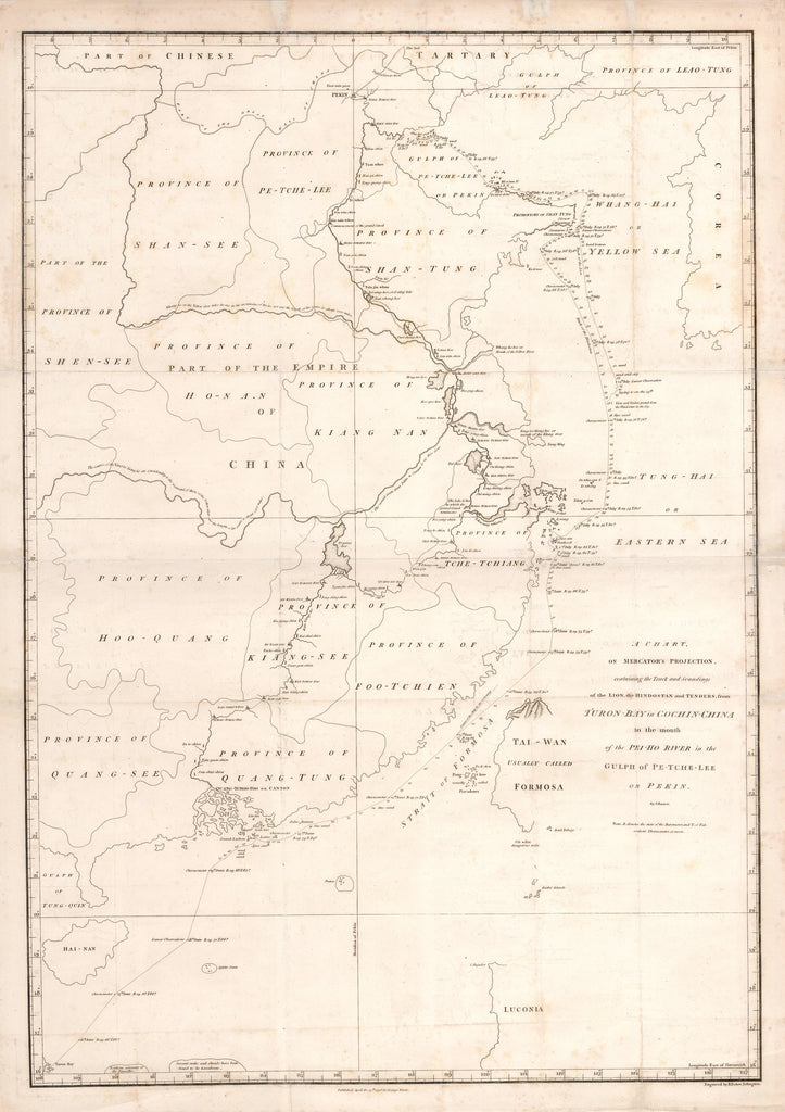 A Chart on Mercator's Projection, containing the Track and Soundings of the Lion, the Hindostan and Tenders from Turon-Bay in Cochin-China to the mouth of the Pei-Ho River in the Gulph of Pe-tche-lee or Pekin.