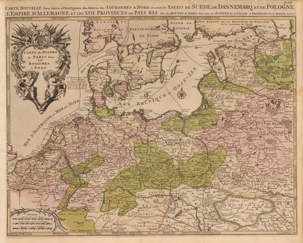 Carte Europe Routes.Antique Map Of Norther Europe By Pieter Mortier 1696