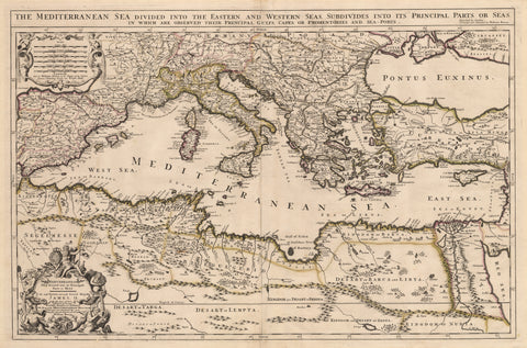 1685 Mediterranean Sea divided into its Principall Parts of Seas