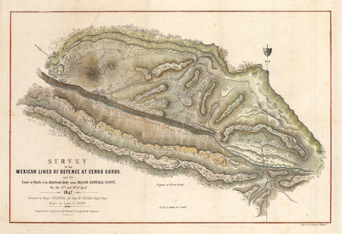 1848 Survey of the Mexican Lines of Defence at cerro Gordo, and the Lines of Attack of the American Army under Major General Scott.