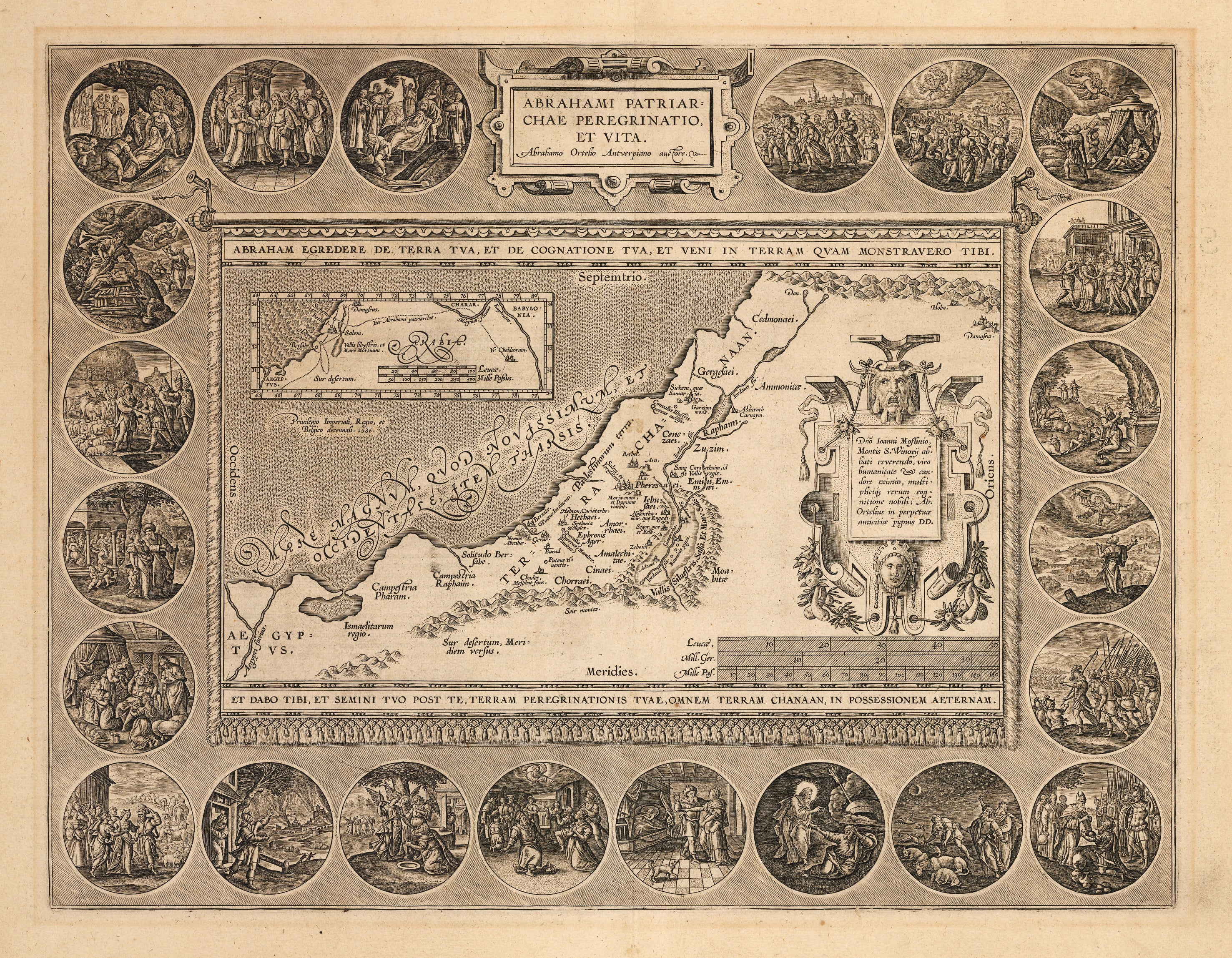 Abrahami Patriarchae Peregrinatio, et Vita. Antique Map of the Holy Land by: Ortelius 1590-92 - the Sotry of Abraham : nwcartographic.com