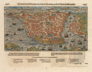 Antique 16th Century Bird's Eye View of Constantinople by Munster - Constantinople des Griechischen Lenserchumbs Hauptstatt/im Land Thracia am moere gelegen