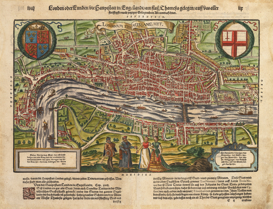 Antique 16th Century Map of London by: Munster, 1598 Londinum Feracis: Ang. Met.