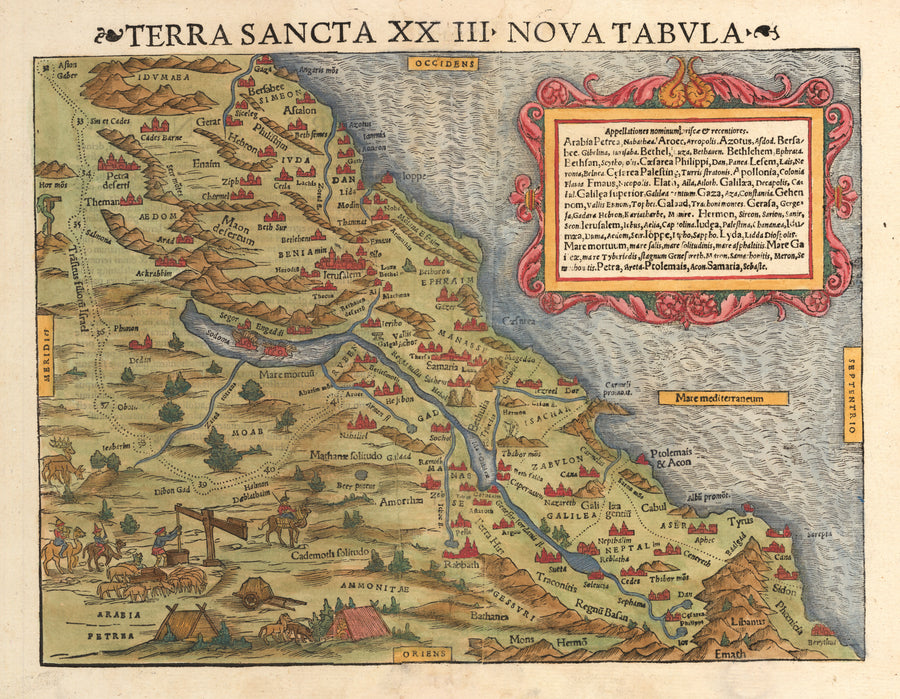 Terra Sancta XXIII. Nova Tabula - Antique 16th Century Map of the Hold Land by: Munster 1545