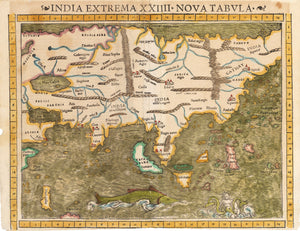 Antique 16th Century Map of Asia by: Munster 1552 - India Extrema XXIIII Nova Tabula