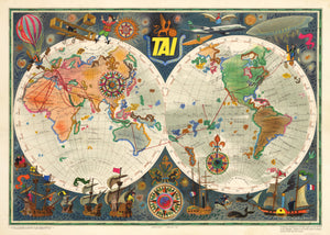 Vintage Mid-Century French Air Travel Map 1957 - TAI Transports Aeriens Intercontinentaux