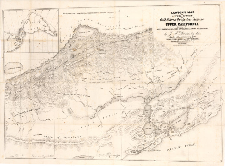 Antique California Gold Rush Map 1849 - Lawson's Map from Actual Survey of the Gold, Silver & Quicksilver Regions Upper California Exhibiting the Mines, Diggings, Roads, Paths, Houses, Mills, Stores, Missions…