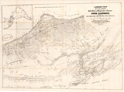 1849 Lawson's Map from Actual Survey of the Gold, Silver & Quicksilver Regions Upper California...