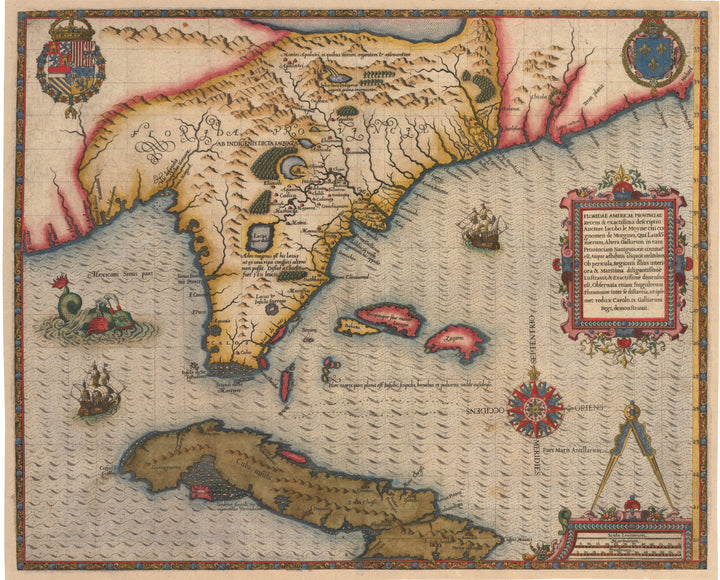 Antique Map of Florida & Southeast United States by le Moyne Floridae Americae Provinciae Recens & exactissima descriptio Auctore Iacobo le Moyne 1591