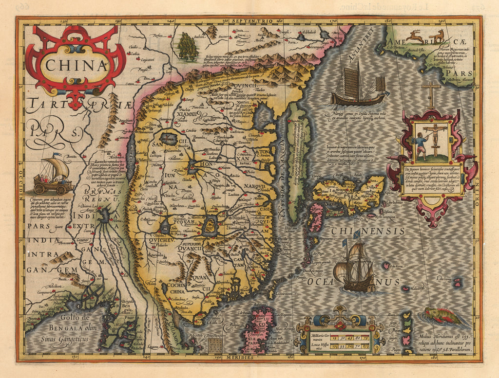 Antique 17th Century Map of China, Korea & Japan 1606 by: Jodocus Hondius