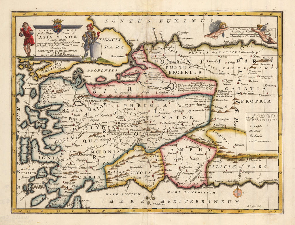 Antique Map of Asia Minor or Turkey by Wells 1700 A New Map of the Western Parts of Asia Minor Largely taken: Showing their Ancient Divisions, Countries or People, Chiefe Cities, Towns, Rivers, Mountains & c. Dedicated to his Highness William Duke of Gloucester