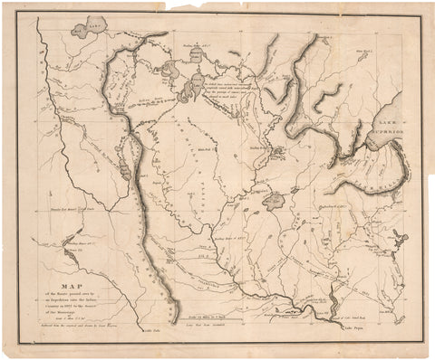 1834 Map of the route passed over by an expedition into the Indian Country in 1832 to the Source of the Mississippi
