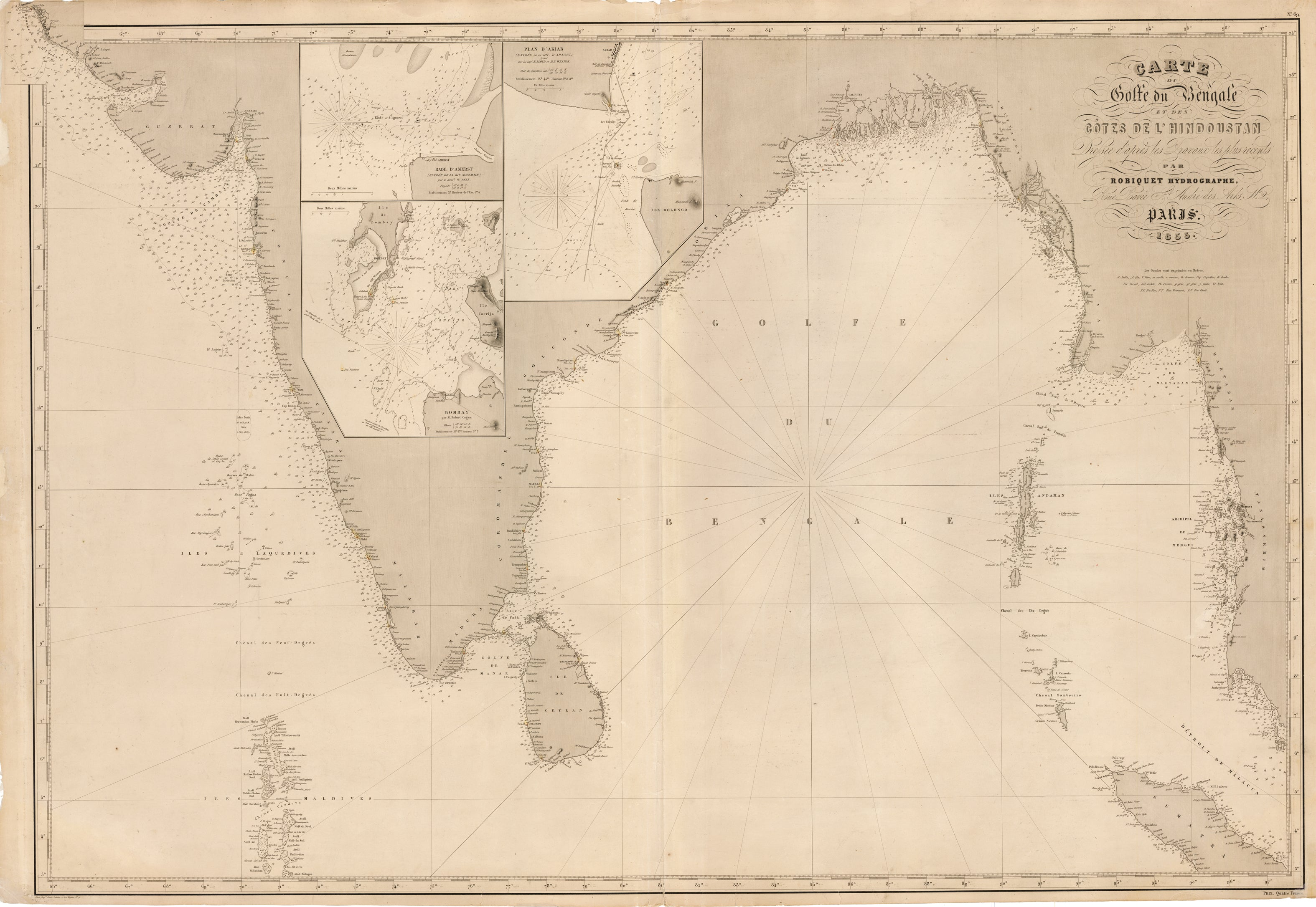 Antique Sea Chart of the Indian Ocean and Gulf of Bengal - Carte du Golfe du Bengale et des Cotes de l'Hindoustan
