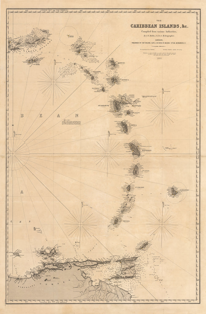 Antique Map of the The Caribbean Islands, & Lesser Antilles