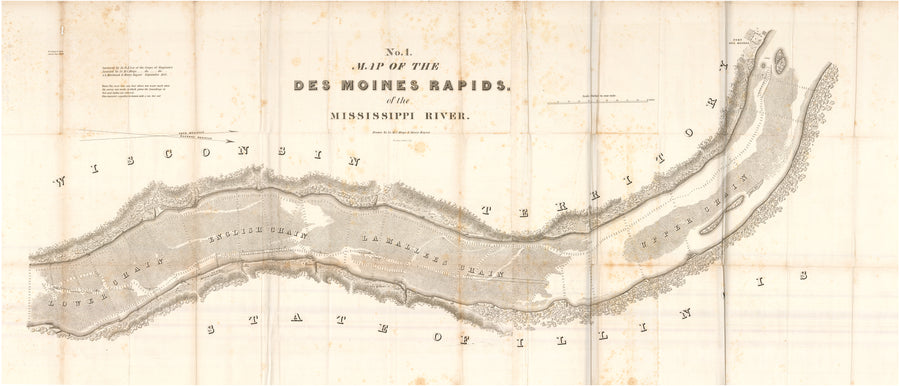 No. 1. Map of the Des Moines Rapids of the Mississippi River