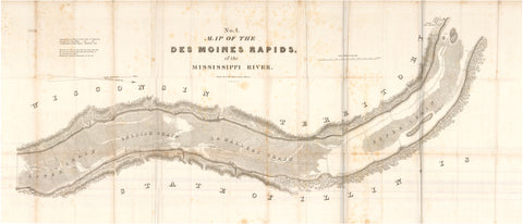 1837 No. 1. Map of the Des Moines Rapids of the Mississippi River