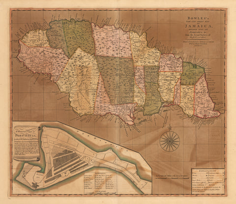 1792 Bowles' New One Sheet Map of Jamaica...