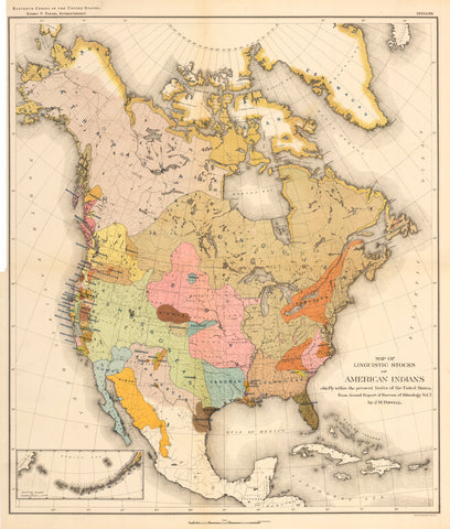 1890 Map of Linguistic Stocks of American Indians...