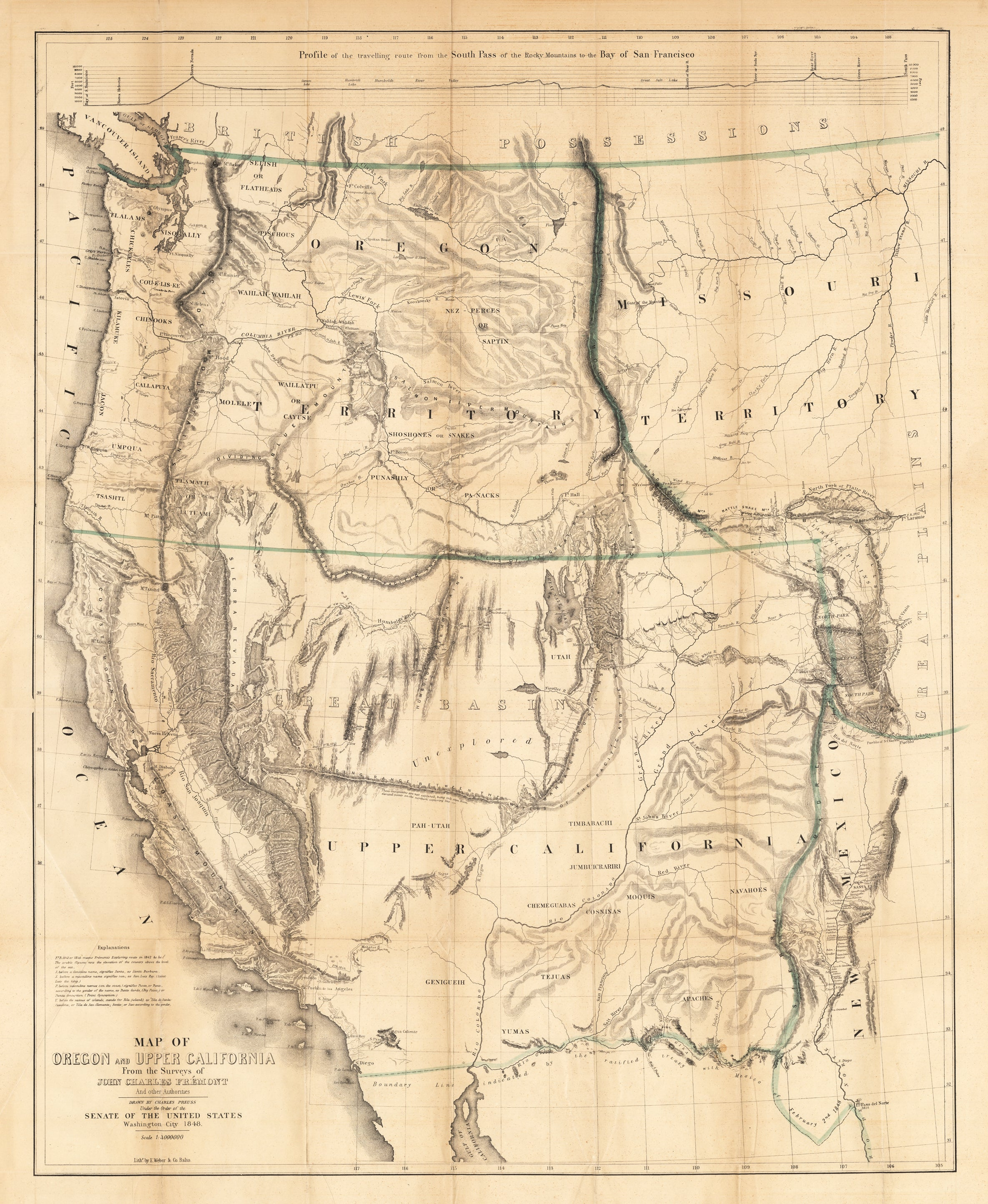 Map Of California To Oregon.1848 Map Of Oregon And Upper California From The Surveys Of John Charles Fremont