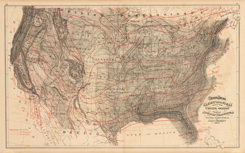 1873 Climatological Map of The United States...