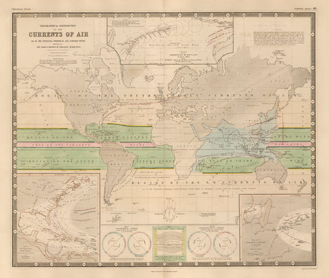 1848 Geographical Distribution of the Currents of Aire or of the Perennial, Periodical and Variable winds.