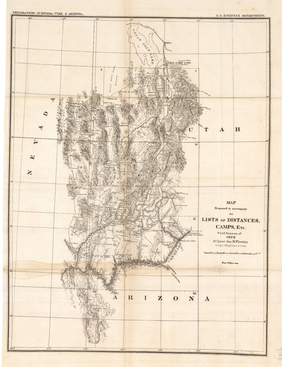 1872 Map Prepared to accompany the Lists of Distances, Camps, Etc. Fie