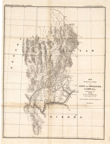 1872 Map Prepared to accompany the Lists of Distances, Camps, Etc. Field Sesson of 1872
