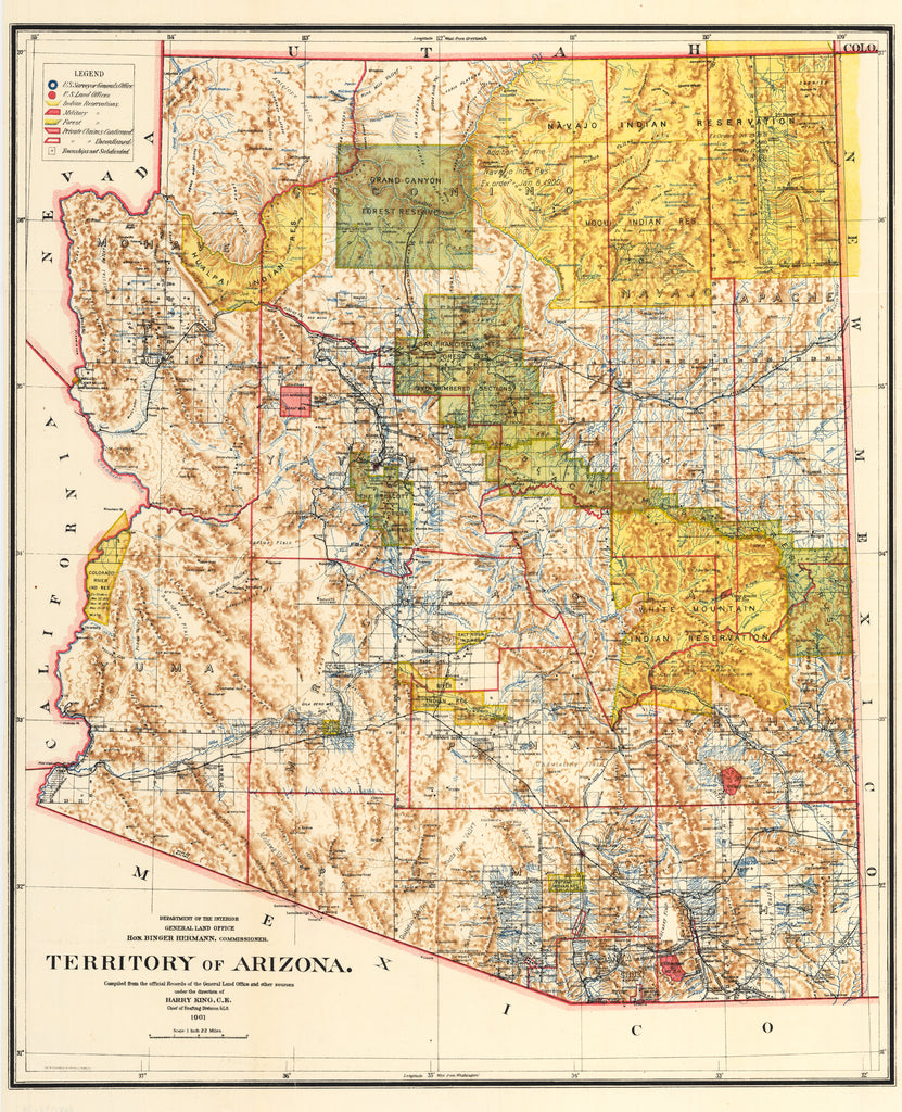 Territory of Arizona map by: GLO 1901