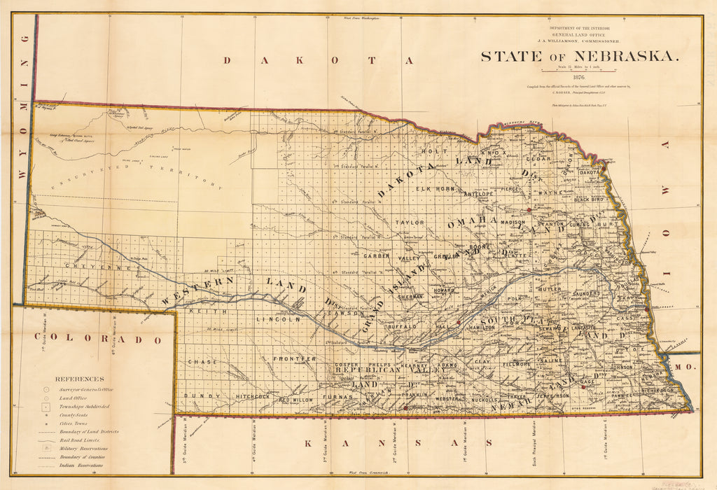 Antique Map of Nebraska By: General Land Office  Published by: Julius Bien Date: 1876