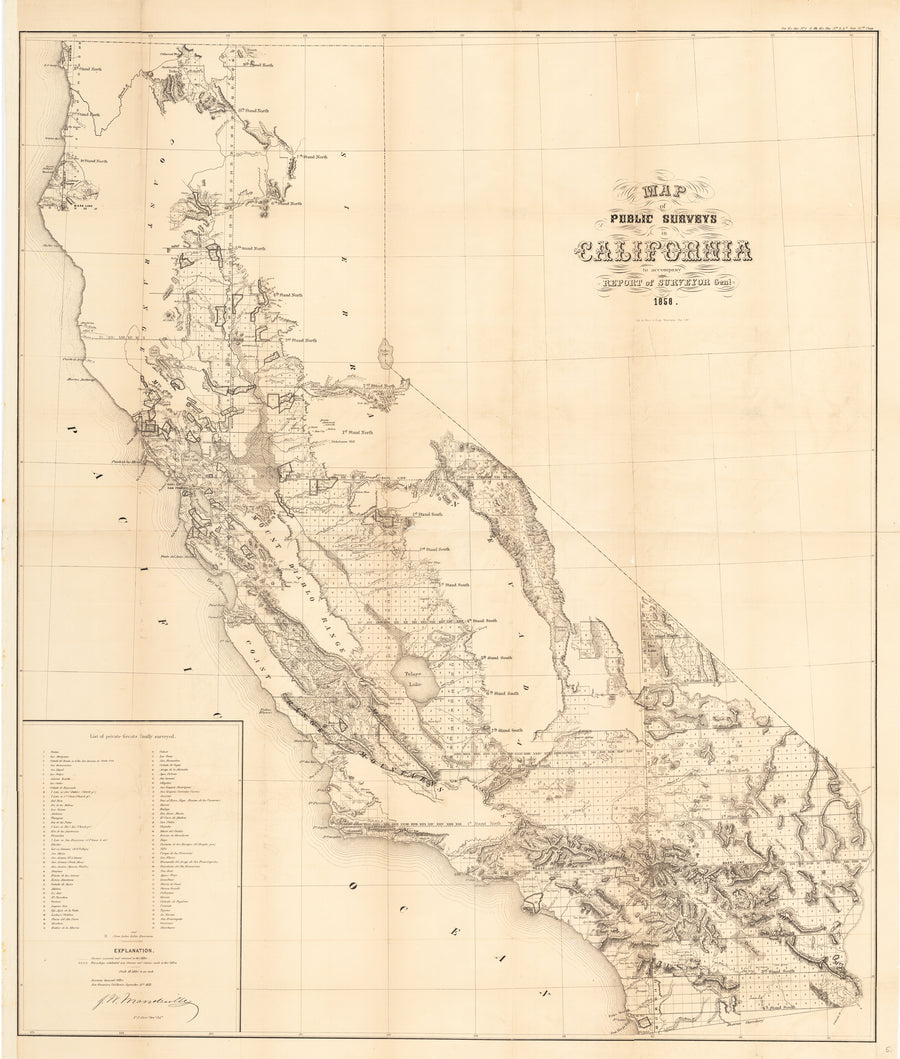 Map of Public Surveys in California to accompany Report of Surveyor Gen.1. 1858