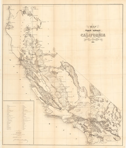 1858 Map of Public Surveys in California...