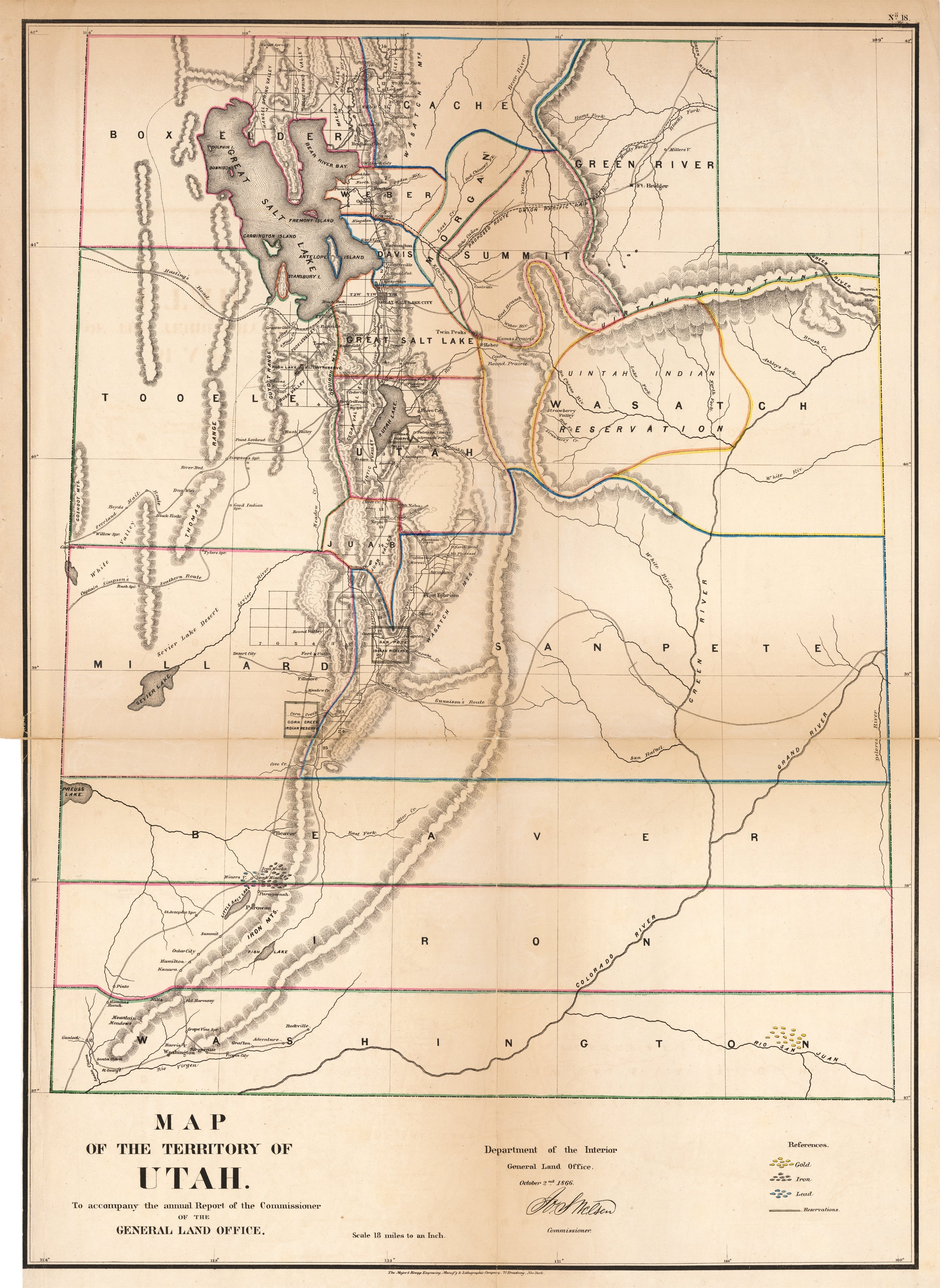 Map of the Territory of Utah By: General Land Office Date: October 2 1866