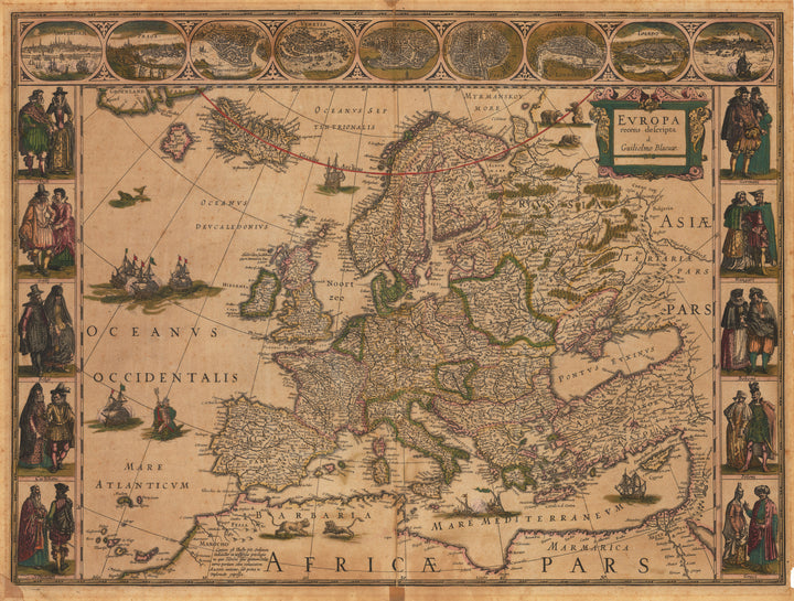 Antique Map of Europe : Europa recens descripta By: Willem Janszoon Blaeu 1635