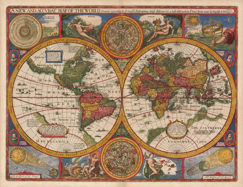 1676 A New and Accurat Map of the World Drawne according to ye truest Descriptions latest Discoveries and best Observations ty have beene made by English or Strangers. 1651