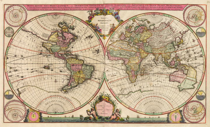 Antique Map of the World : Mappe-Monde Geo-Hydrographique ou Descriptione Generale du Globe Terrestre et Aquatique en Deux Plans-Hemispheres…  By: Covens and Mortier Date: 1721