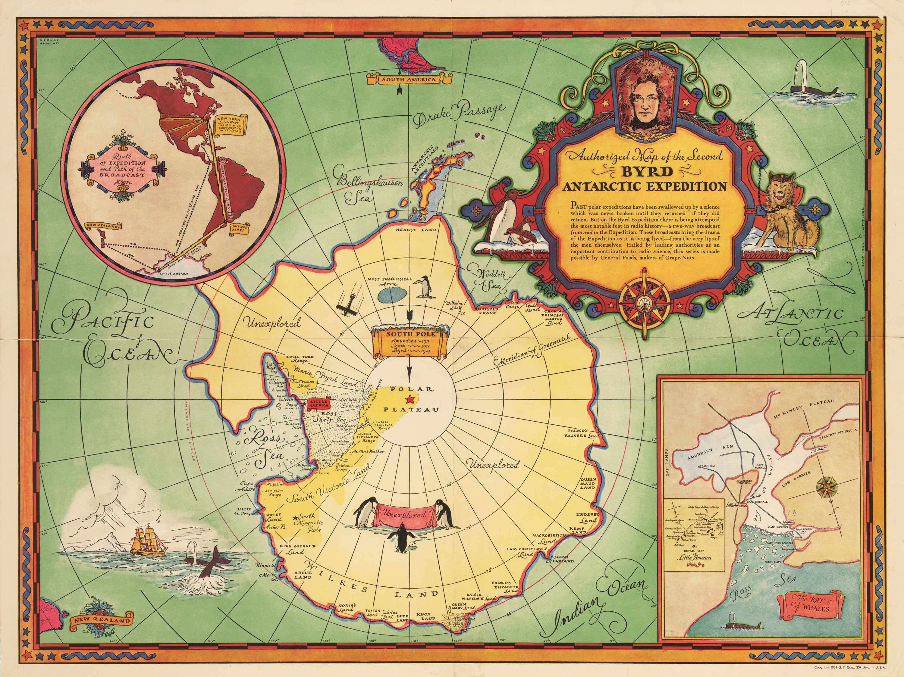 Authorized Map of the Second Byrd Antarctic Expedition  By: George Annand 1934
