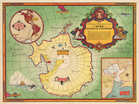 1934 Authorized Map of the Second Byrd Antarctic Expedition