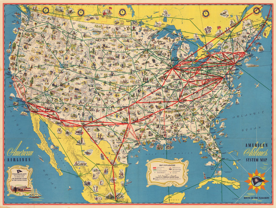 American Airlines System Map Route of the Flagships 1945