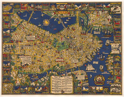 1926 The Colour of an Old City a Map of Boston...