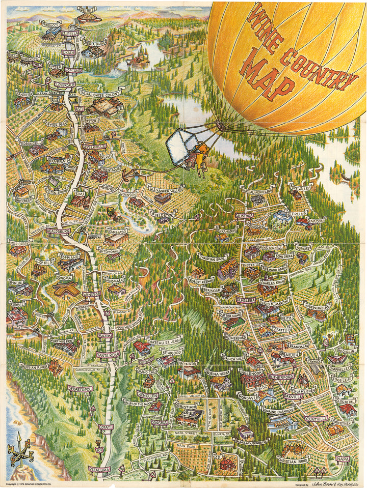 Vintage Pictorial Wine Country Map By: John Born & Ron Morales, Date: 1979