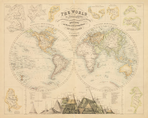 1860 The World in Hemispheres With Comparative Views Of The Heights Of the Principal Mountains and Basins of the Principal Rivers On The Globe