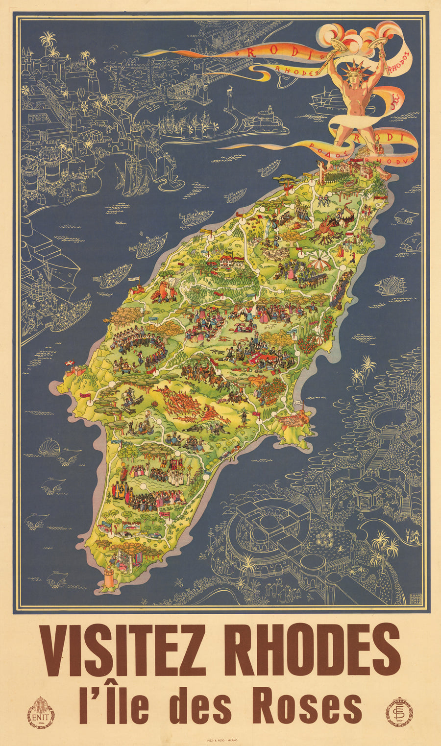 Antique Pictorial Map of Rhodes : Visitez Rhodes l'Ile des Roses By: Egon Huber, Date: 1935