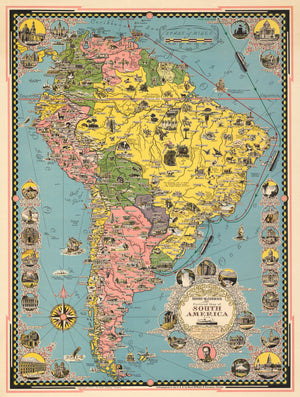 Moore-McCormack Lines Pictorial Map of South America By: Ernest Dudley Chase, Date: 1942