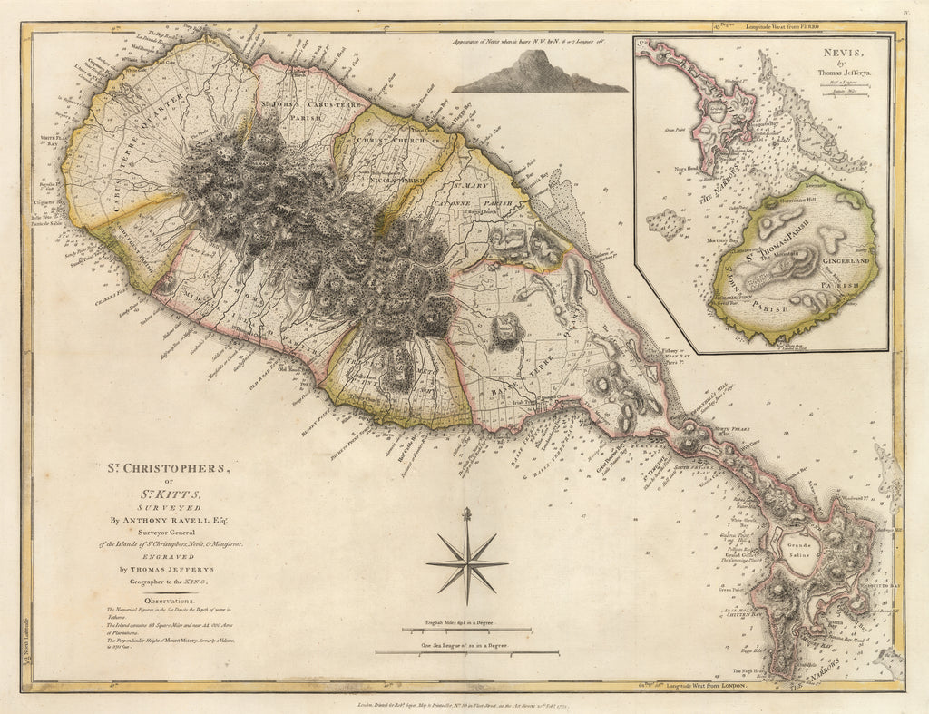 Antique Map : St. Christopher's, or St. Kitts, Surveyed by Anthony Ravell Esqr. Surveyor General of the Islands of St. Christophers, Venis, & Montserrat. By: Thomas Jefferys, Date: 1775