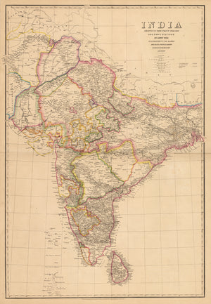 Antique Map of India : India Shewing The Post Roads And Dawk Stations by: Wyld, 1848
