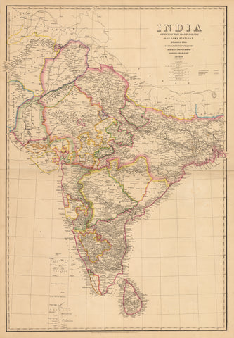 1849 India Shewing The Post Roads And Dawk Stations