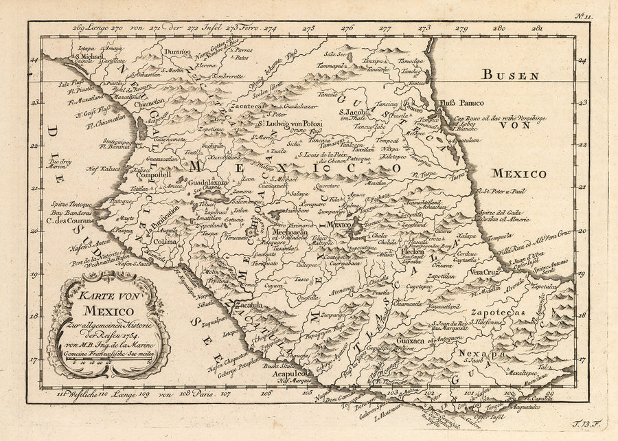 Antique 18th Century Map Of Mexico By Bellin 1754