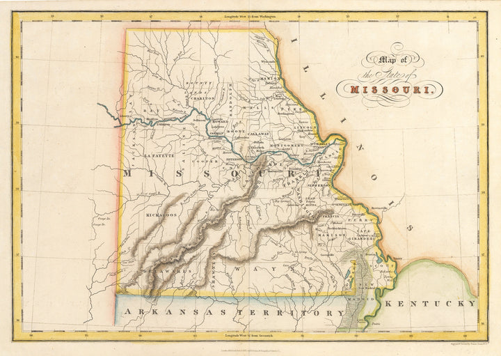Map of the State of Missouri By: Hinton, Simpkin & Marshall, Date: 1832